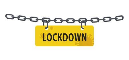 Lockdown chain barrier from virus pandemic outbreak isolated on white. Stock vector illustration in flat design. Ilustração