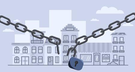 Broken lockdown chain barrier over city. Stock vector illustration of open lockdown.