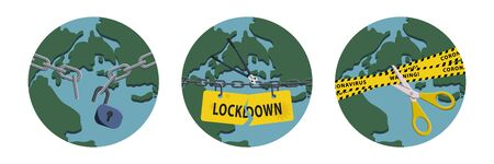 Concepts of open lockdown after pandemic outbreak. Broken yellow tape and chain over planet. Stock vector illustration. Illustration