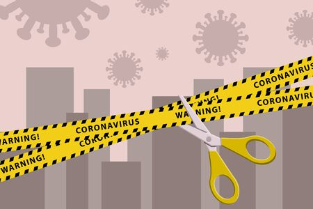 Concepts of open lockdown after pandemic outbreak. Torn yellow tape with scissors over city. Stock vector illustration