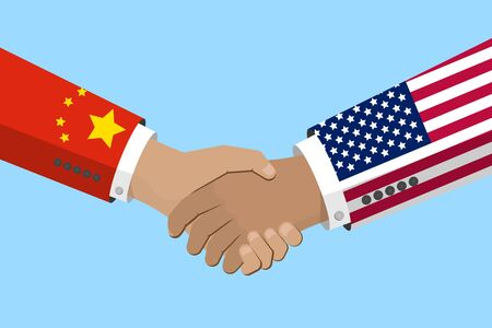 USA and China relations concept. handshake symbol with flags on sleeves. Stock vector illustration in flat design.
