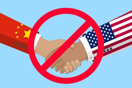 China and USA trade war, business and economics conflict. Chinese and american flags on hands. Stock vector illustration