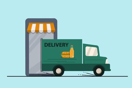 Food delivery concept. Smartphone e-commerce concept. E-marketing, app store, delivery van. Flat design style modern vector illustration.