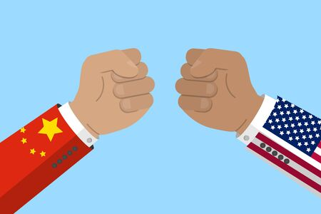 China and USA trade war, business and economics conflict. fist with chinese and american flag. Stock vector illustration