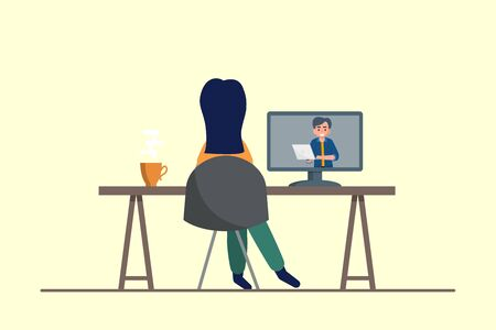Education, training, online tutorial, e-learning concept. Woman watching webinar on computer. Flat vector illustration.