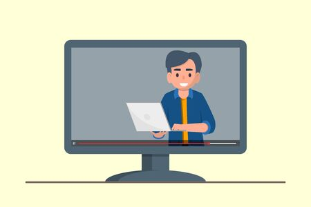 Education, training, online tutorial, e-learning concept. Webinar video on screen. Flat stock vector illustration.