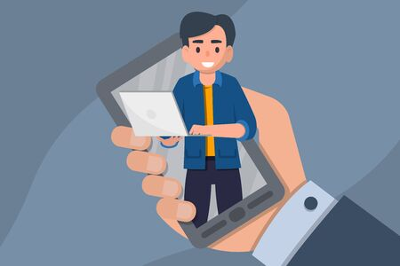 Online webinar. Distant education, training, tutorial, e-learning concept. Flat stock vector illustration