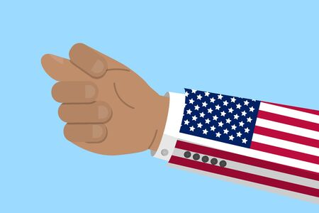 Hand gesture of fig sign with flag of USA. American conflict concept. Stock vector illustration in flat design. Illustration