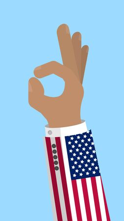 OK sign finger gesture with flag of USA, gesture of approval, meaning Like, Stock vector illustration in flat design. Illustration