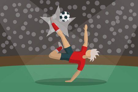 Soccer Player Kicking Ball in stadium. Light, stands, fans. Stock Vector Illustration in Flat Design
