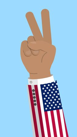 Victory finger gesture with flag of USA, gesture of approval, meaning Like, Stock vector illustration in flat design. Illustration