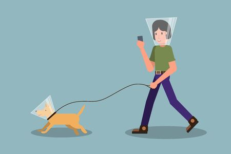 New normal concept after Coronavirus. Walking man and dog wearing protective cone. Isolated. Stock vector Illustration Illustration