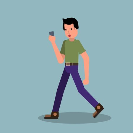 Surprised young walking man with smartphone chatting and answering phone call. Stock vector illustration in flat.