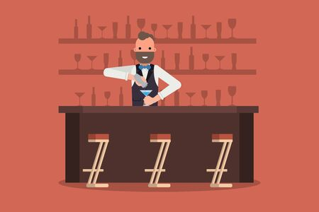 Smiling barman at work with shaker behind showcase with alcoholic bottles and glasses in background. Vector illustration.