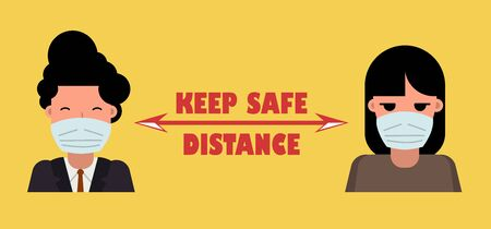 Masked people at a distance. Poster Keep safe distance with other people. Precautions for the coronavirus epidemic