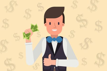 Young man holding money in hand and showing thumbs up. Successful business and finance concept stock vector illustration Illustration