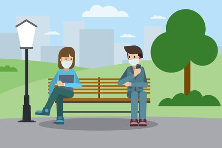 Couple sitting on bench in park with mask and physical distance during pandemia. Stock vector illustration.