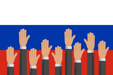 Raised up hands on russian flag vector illustration. Teamwork, collaboration, voting, volunteering concert. Illustration