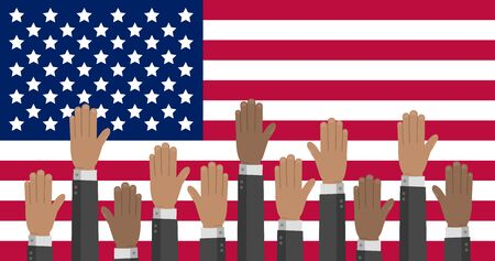 USA flag with hands in different colors reaching up. The US presidential Election stock vector illustration. Illustration