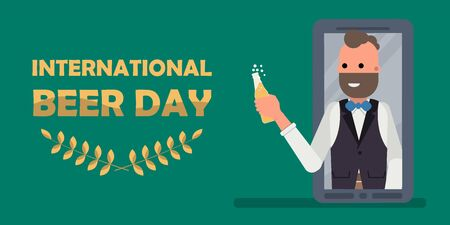 Happy man holding bottle of beer, Happy international beer day wiith social distancing concept. Flat vector illustration
