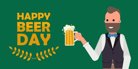 Happy person holding mug of beer. Happy international beer day concept on green background. Flat vector illustration