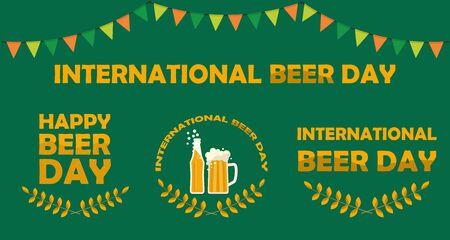 Set of happy international beer day posters and signs witn mug of beer, beer bottle, tagline. Flat vector illustration Illustration