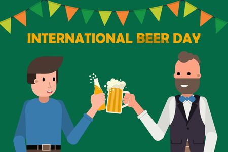 Two persons holding mug and bottle of beer, Happy international beer day concept. friday party Vector illustration
