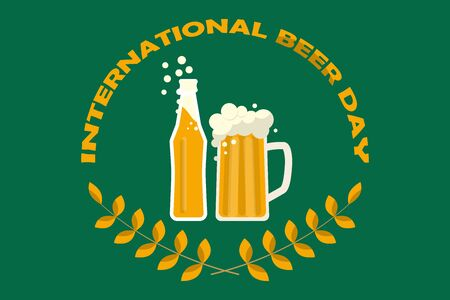 Mug of beer and beer bottle. Happy international beer day poster background. Vector illustration in flat style.