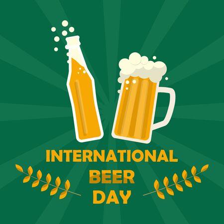 Mug of beer and beer bottle symbol. Happy international beer day poster background. Vector illustration in flat style.