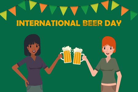 Two cute whit and black women holding mug of beer, Happy international beer day concept. friday party Vector illustration