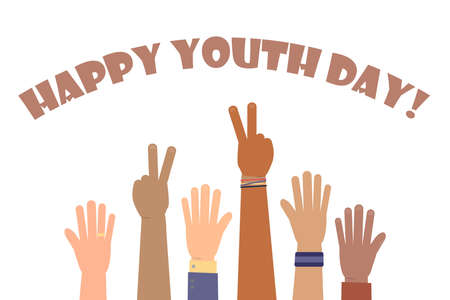 Happy Youth Day greeting card of diverse color hands and text quote. Colorful young people group. vector illustration.
