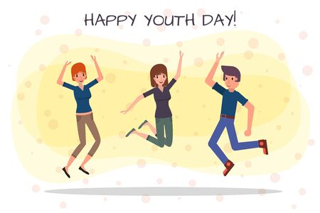 Happy youth day greeting card. Diverse friends having fun together for event celebration. Stock vector illustration. Illustration