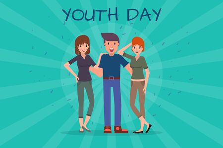 Diverse friend girls and boys hugging together for event celebration. Happy youth day concept. Vector illustration