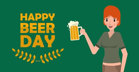 Cute woman holding mug of beer. Happy international beer day concept on green background. Flat vector illustration. Illustration