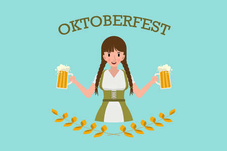 Pretty girl with mugs of beer, Oktoberfest logo design with space for text, invitation. Flat stock vector illustration Illustration