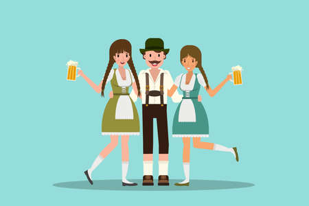 Man and women hugging and celebrating oktoberfest with a big glass of beer. Vector illustration in flat design. Illustration