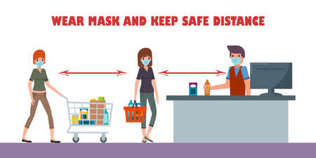 Physical distancing Concept. Protect yourself from catching coronavirus at supermarket. Vextor illustration