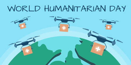 World Humanitarian Day concept. Quadrocopter delivering medicine, drone pharmacy delivery. Flat vector illustration.