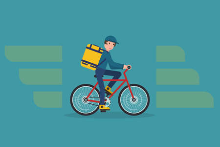 Ecological city bicycle delivering service illustration with modern cyclist carrying package. Food delivery boy.