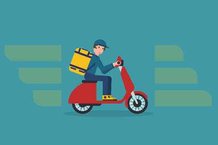 Delivery man riding motorcycle, Send order to customer, Express delivery bike service, Flat design vector illustration