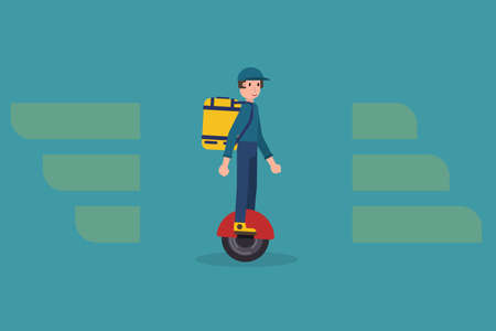 Delivering service vector illustration with modern delivery man on mono-wheel carrying package. Food delivery boy. Illustration