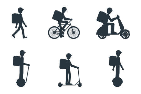Set of delivery man silhouette on foot, scooter, bicycle, mono-wheel Stock vector illustration in flat design.