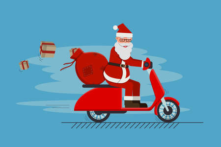 Funny cute Santa Claus riding on scooter with bag full of gifts. Merry Christmas and a Happy New Year greeting. Illustration