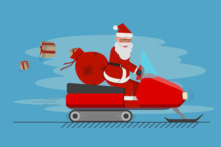 Santa Claus with red gift bag on the snowmobile isolated, cute cartoon vector illustration.
