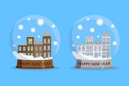 House in snowball with falling covid-19 bacteria. Happy new year stay home concept. Vector illustration in flat design.
