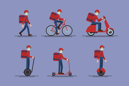 Set of Delivery Man with face mask on foot, scooter, bicycle, mono-wheel. Covid-19 Coronavirus concept.