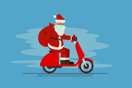 santa claus in mask driving scooter delivering gifts merry christmas happy new year holidays concept vector illustration