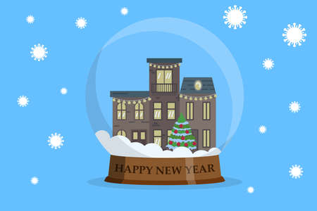 Houses inside snowball with falling covid-19 bacteria. Happy new year coronavirus concept. Vector illustration flat.