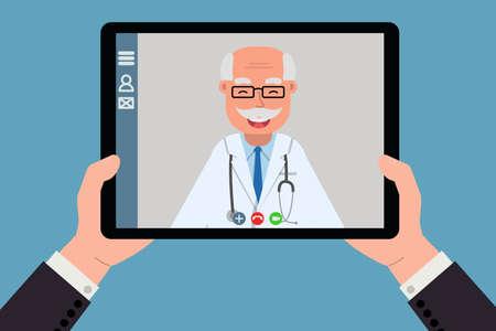 Doctor online on tablet computer. Distant medical consultation. New medicine technologies. Vector illustration, flat.