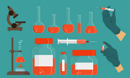 Medicine items. Different objects of chemical sciences. Collection of colorful modern vector flat elements. Illustration